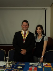 Chantal De'Ath pictured with the President of the Rotary Club of Gibraltar Julian Risso after receiving her sponsorship cheque
